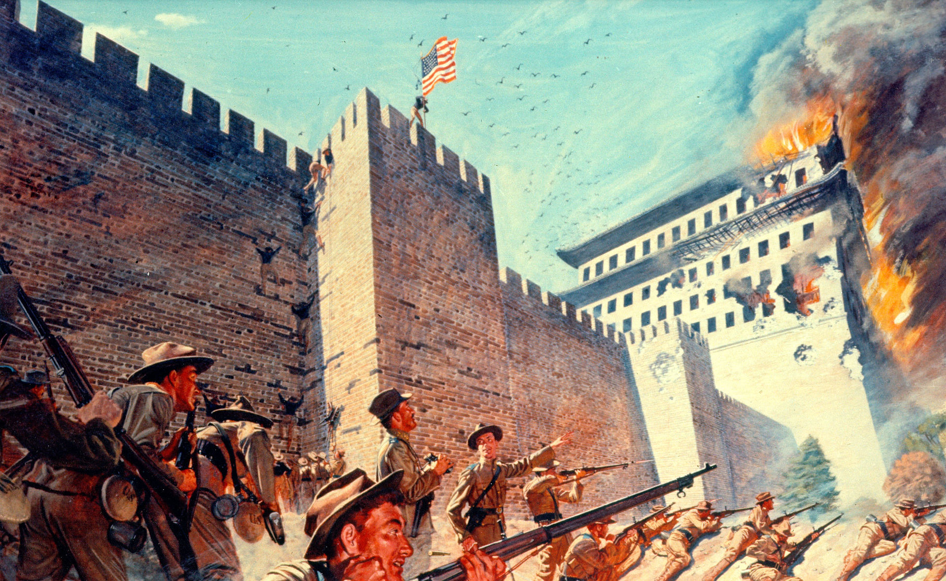 Bugler Calvin P. Titus Raises The Colors Above Peking's Wall